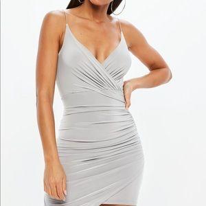 Gray Strappy Slinky Wrap Bodycon Dress -MISSGUIDED